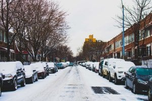 Snowy and icy urbal streetscape